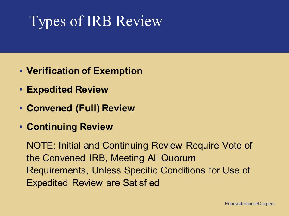 Types of IRB Review Verification of Exemption Expedited Review