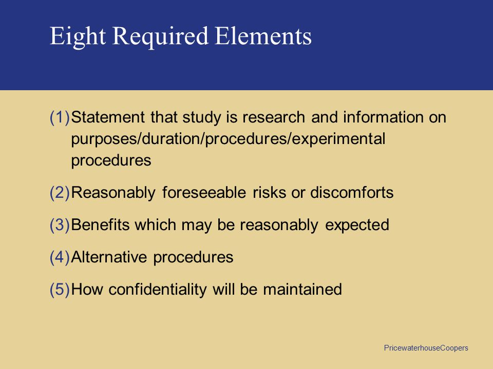 Eight Required Elements
