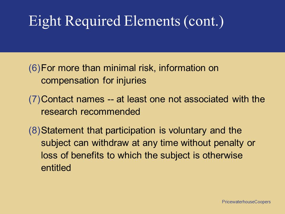 Eight Required Elements (cont.)