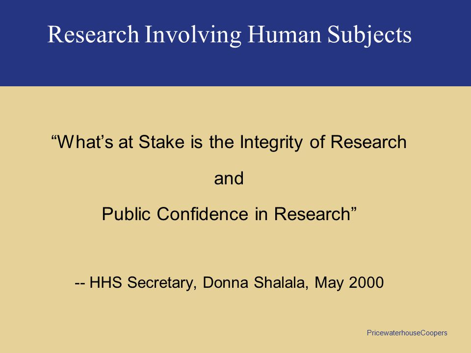 Research Involving Human Subjects