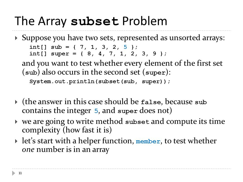 The Array subset Problem