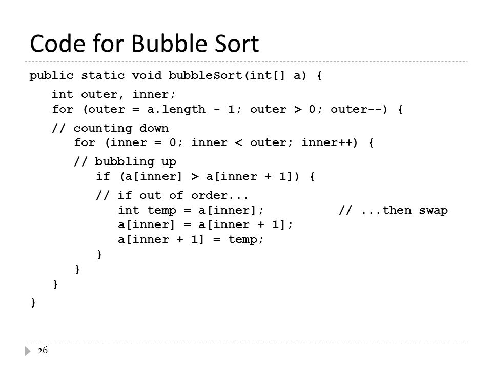 Code for Bubble Sort
