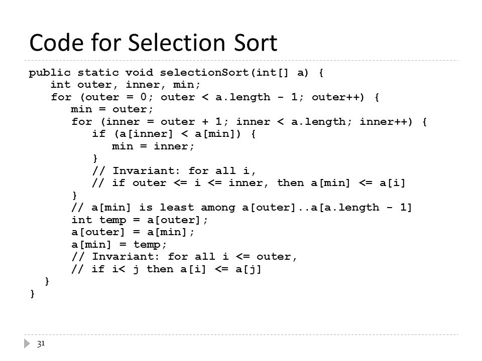 Code for Selection Sort