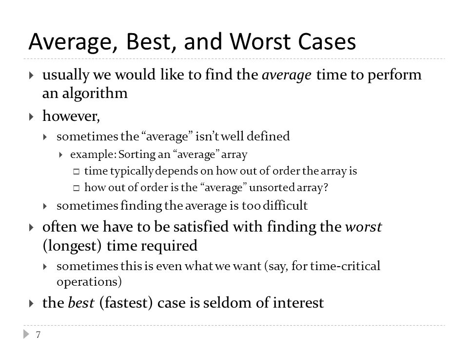 Average, Best, and Worst Cases