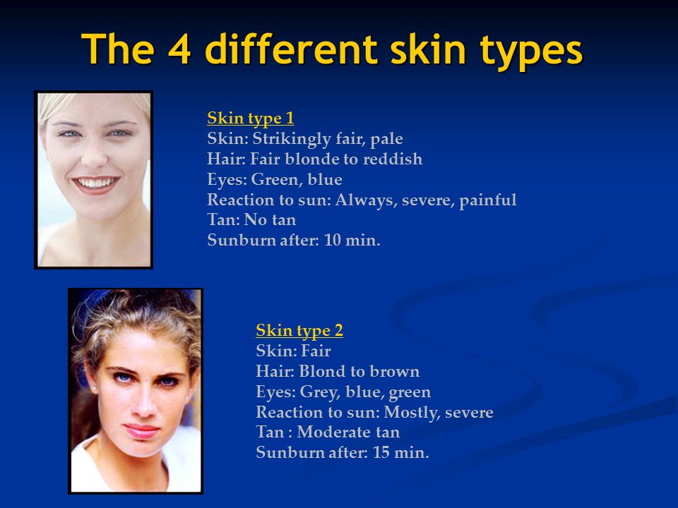 The 4 different skin types