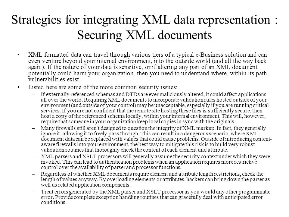Strategies for integrating XML data representation : Securing XML documents