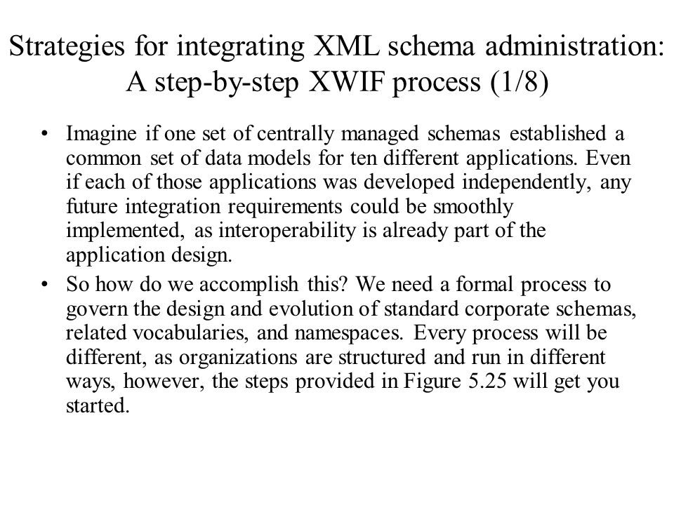 Strategies for integrating XML schema administration: A step-by-step XWIF process (1/8)