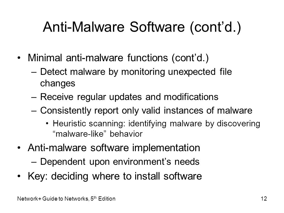 Anti-Malware Software (cont'd.)