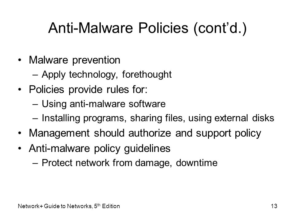 Anti-Malware Policies (cont'd.)
