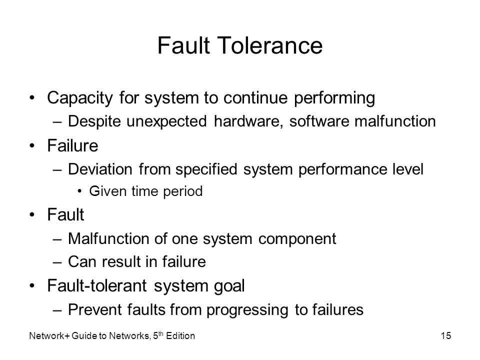 Fault Tolerance Capacity for system to continue performing Failure