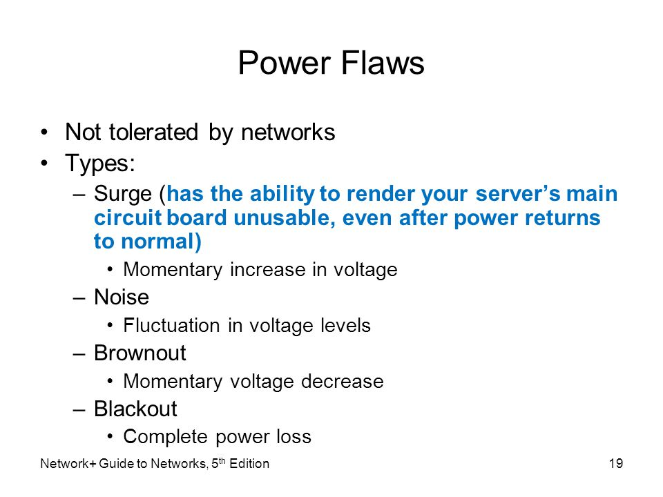 Power Flaws Not tolerated by networks Types: