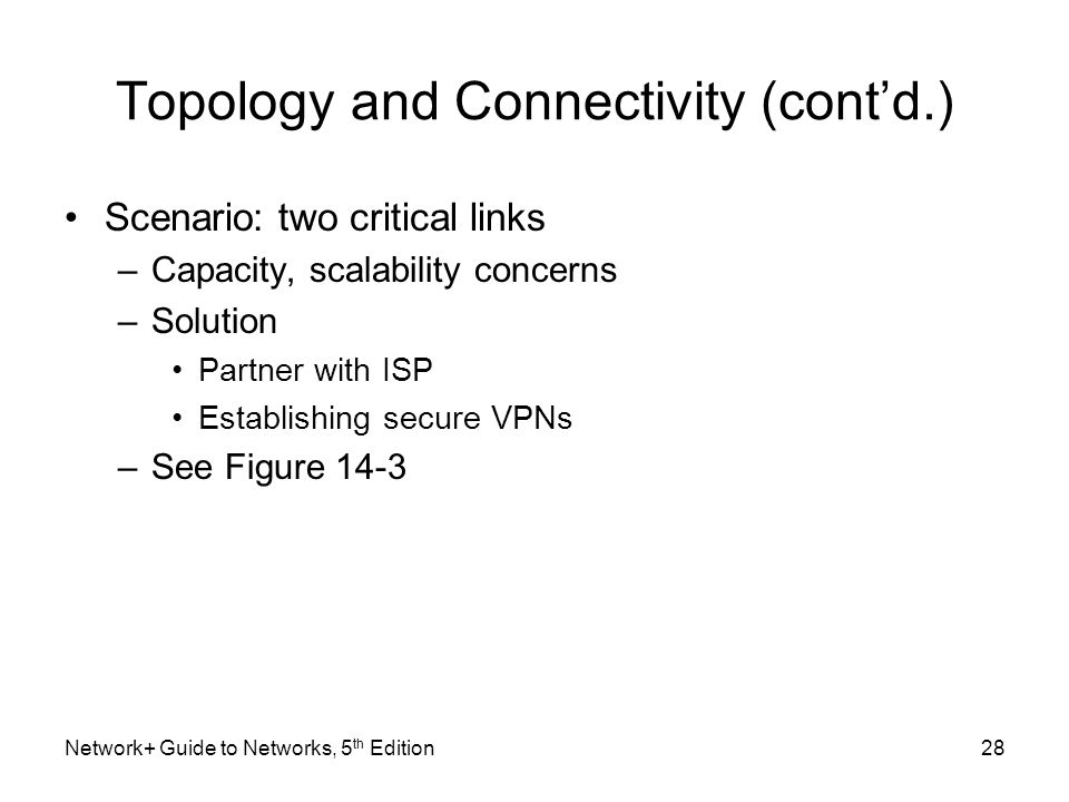 Topology and Connectivity (cont'd.)