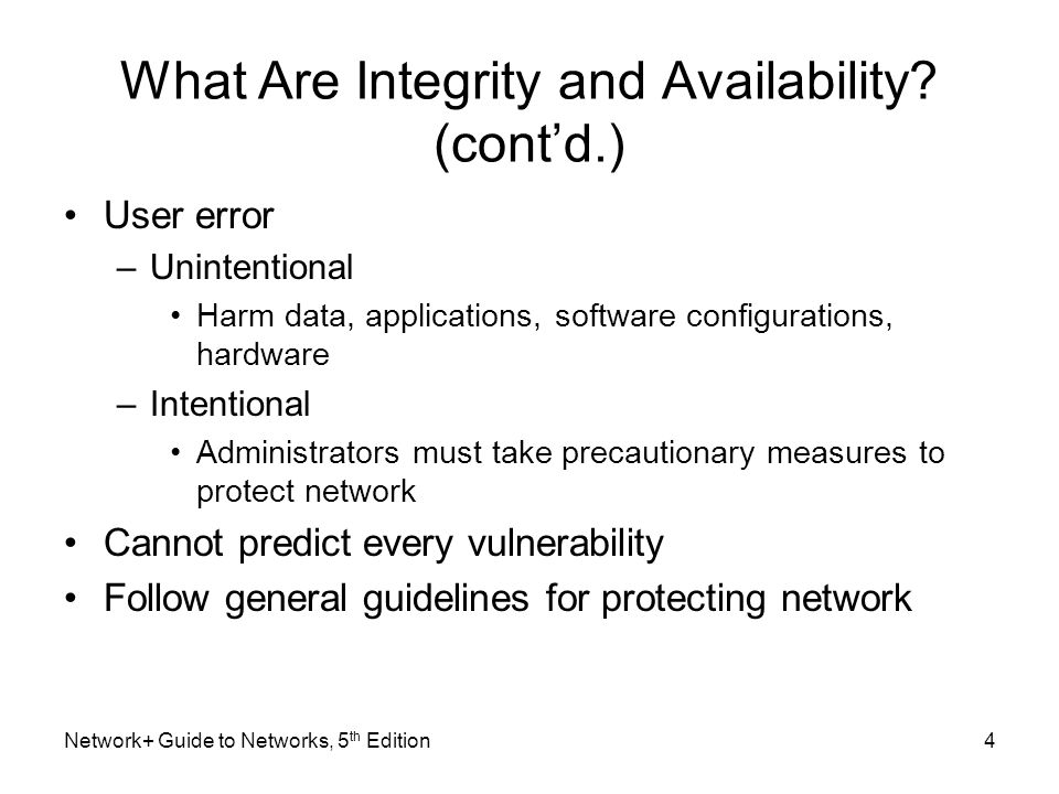 What Are Integrity and Availability (cont'd.)