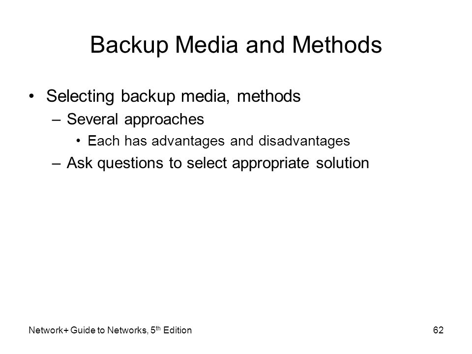 Backup Media and Methods