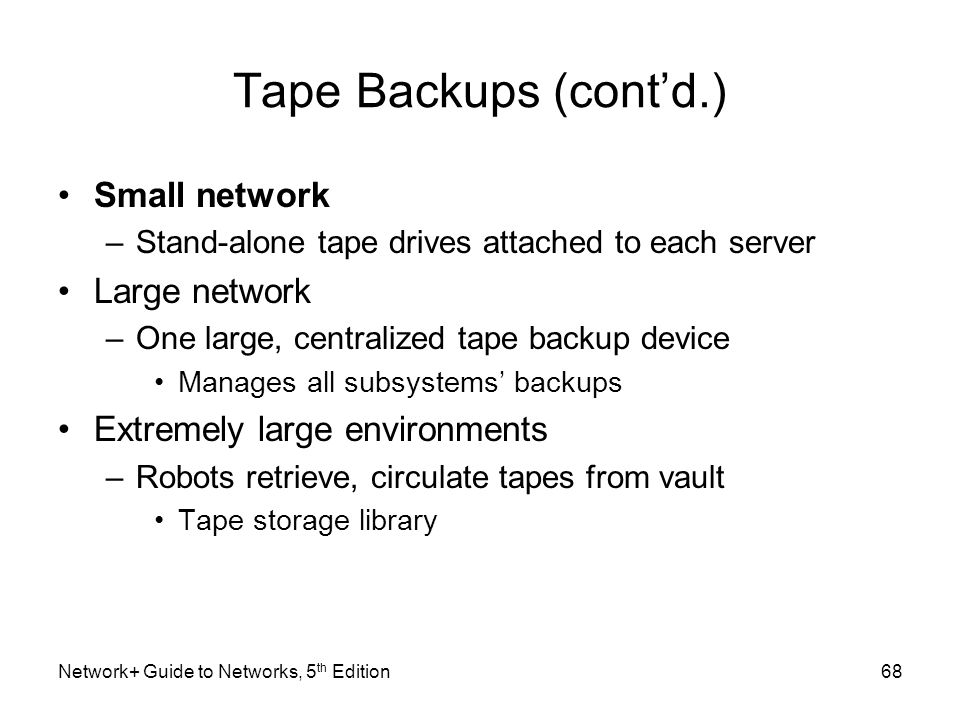 Tape Backups (cont'd.) Small network Large network