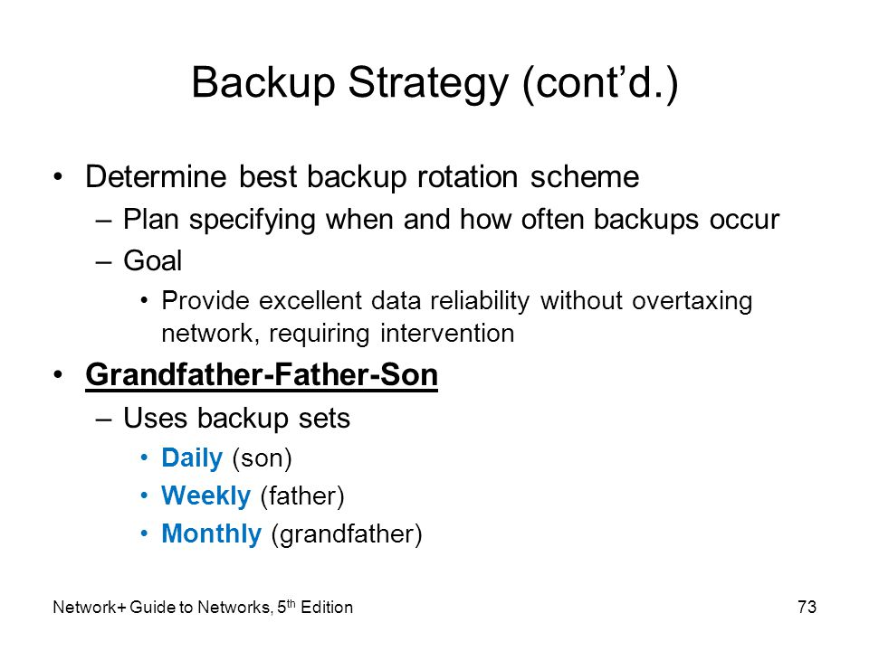 Backup Strategy (cont'd.)