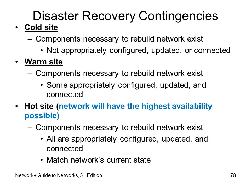 Disaster Recovery Contingencies