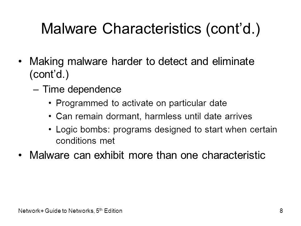 Malware Characteristics (cont'd.)