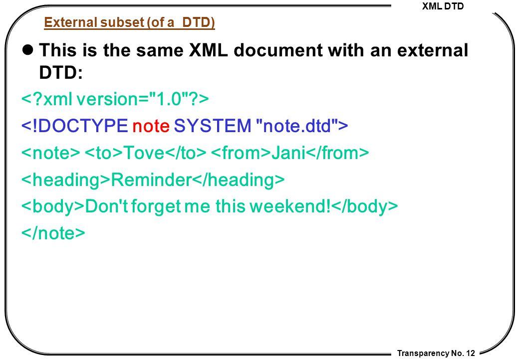External subset (of a DTD)