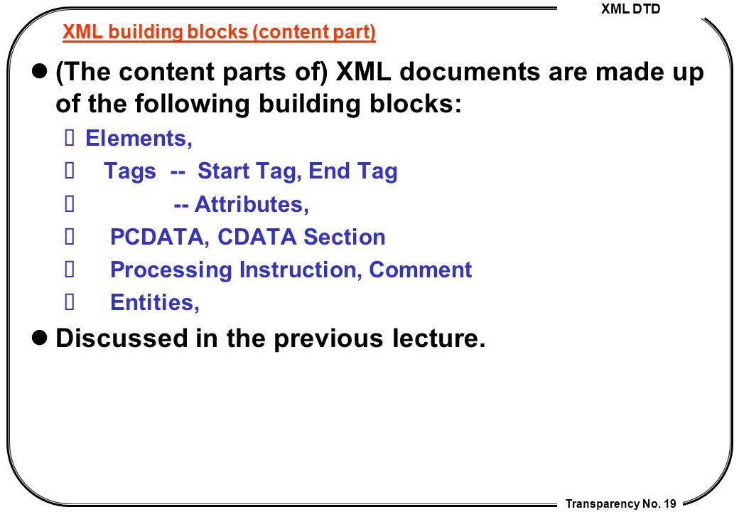 XML building blocks (content part)