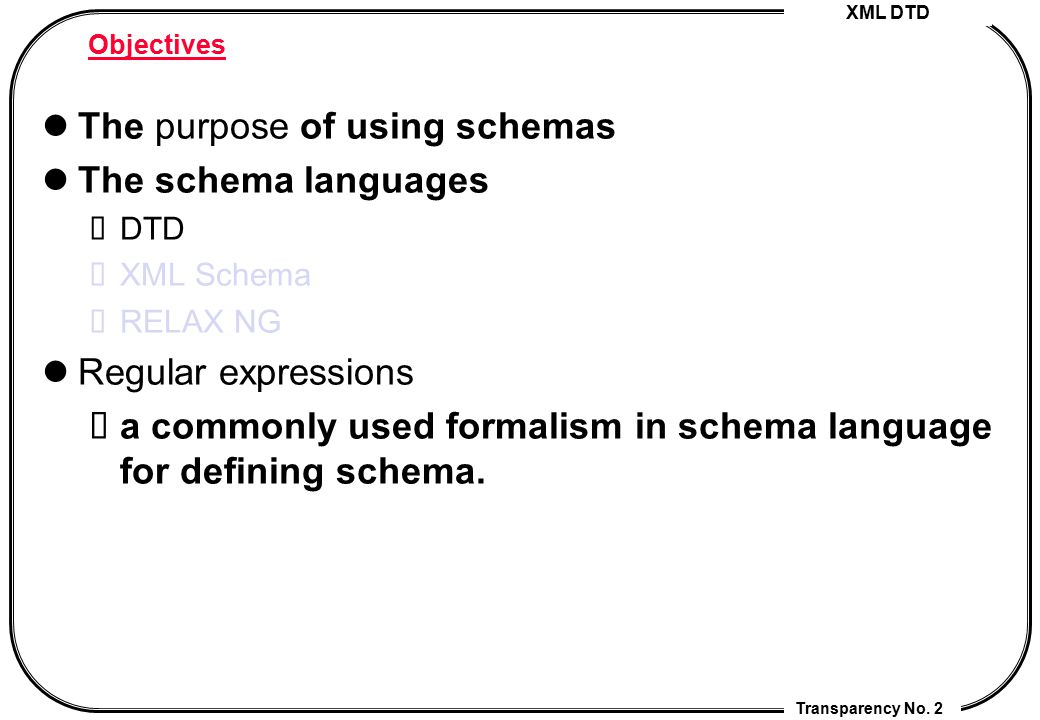 The purpose of using schemas The schema languages