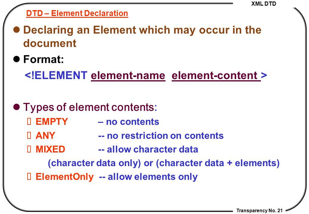 DTD – Element Declaration