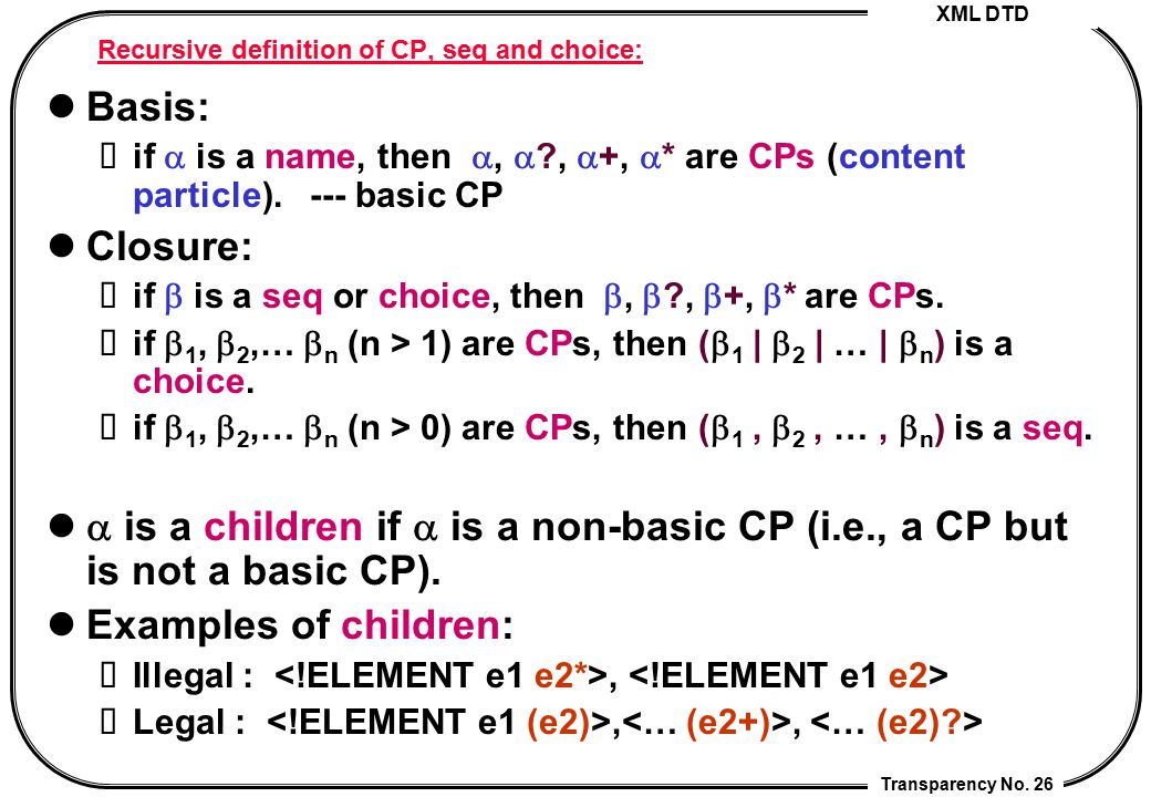 Recursive definition of CP, seq and choice: