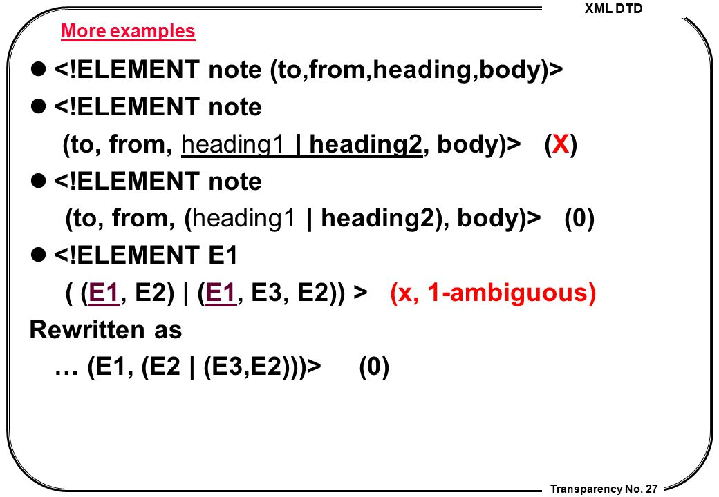 <!ELEMENT note (to,from,heading,body)> <!ELEMENT note