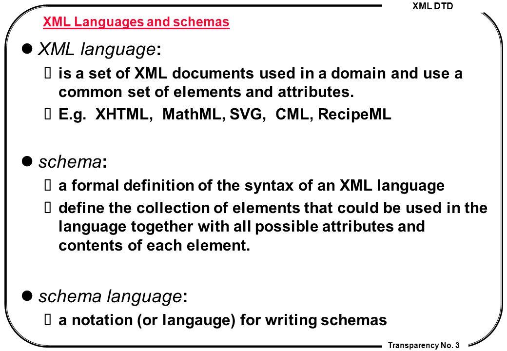 XML Languages and schemas