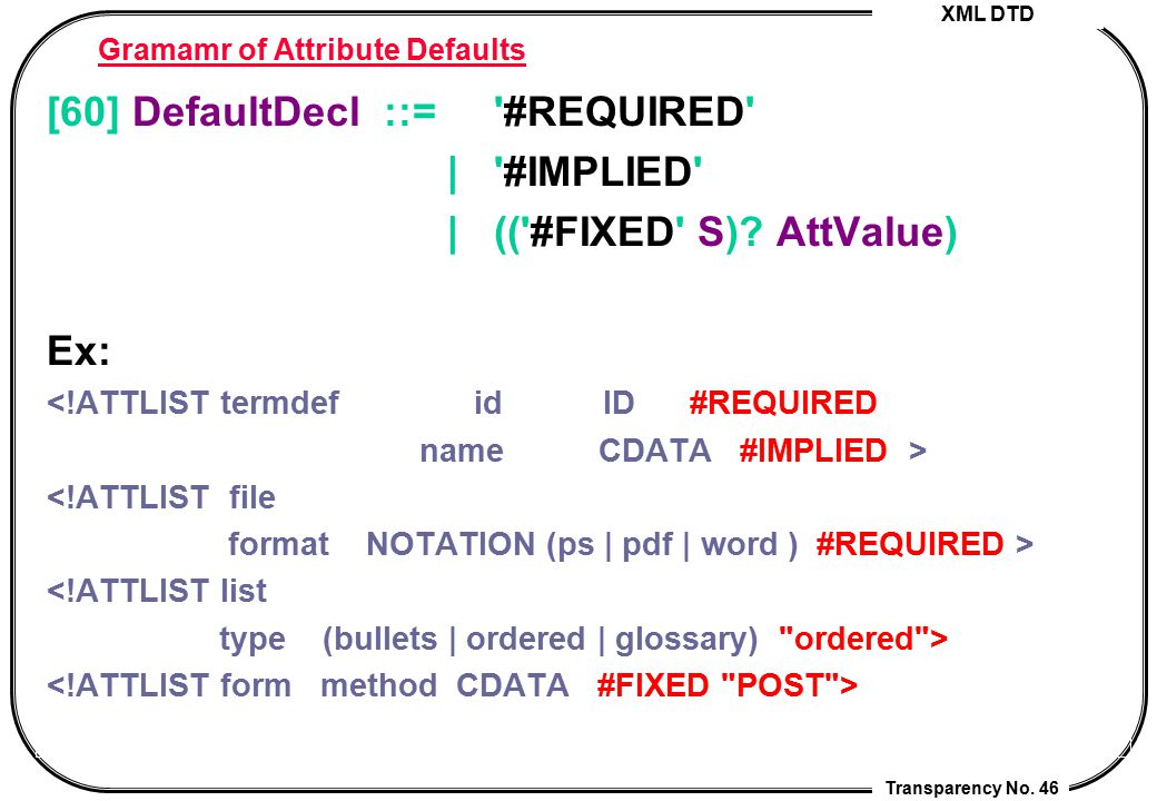 Gramamr of Attribute Defaults