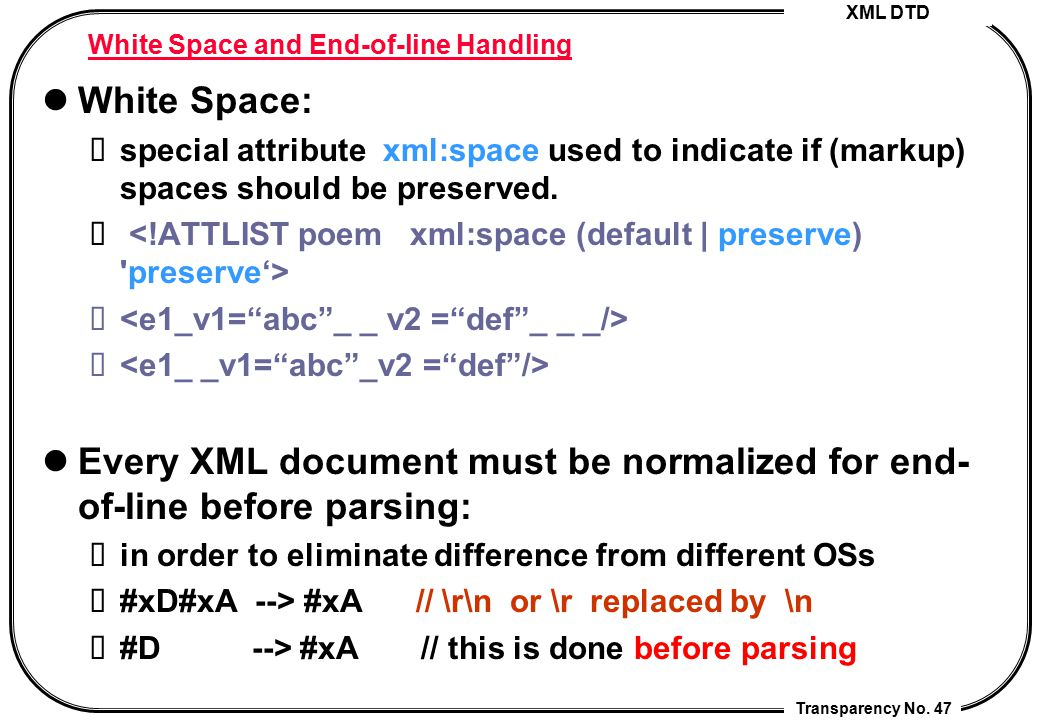 White Space and End-of-line Handling