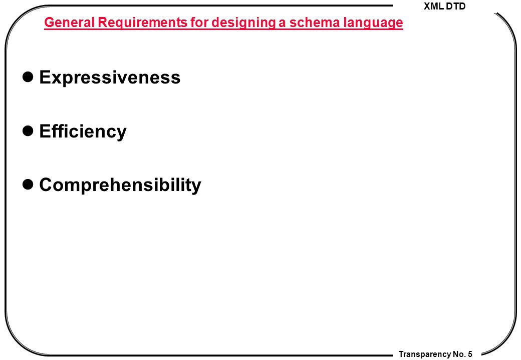 General Requirements for designing a schema language