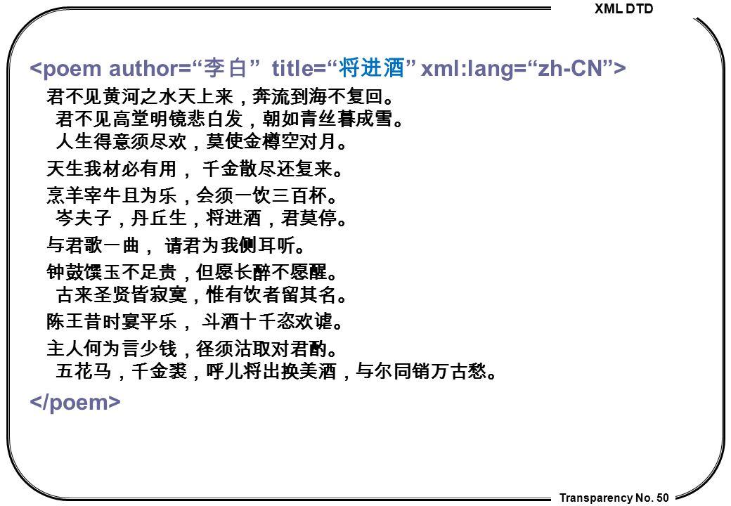 <poem author= 李白 title= 将进酒 xml:lang= zh-CN >