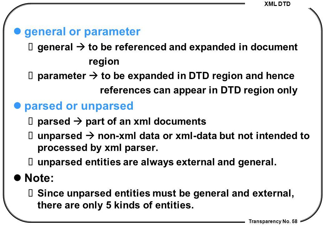 general or parameter parsed or unparsed Note: