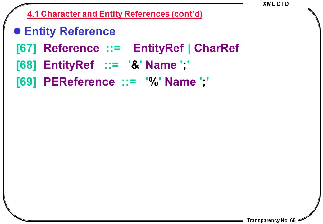 4.1 Character and Entity References (cont'd)