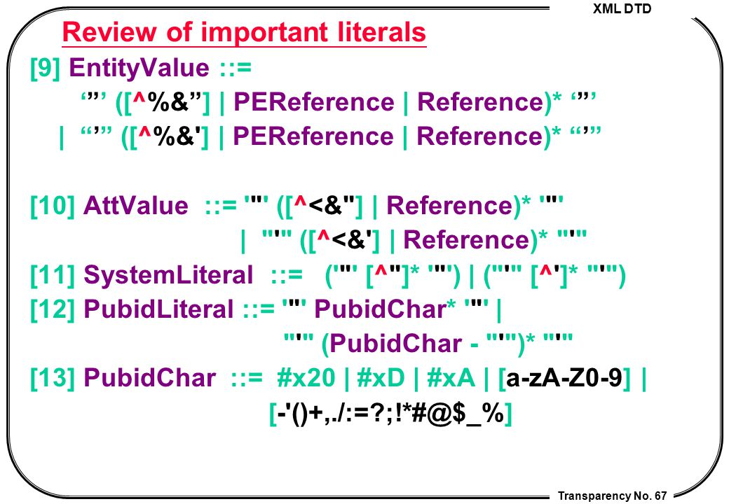 Review of important literals