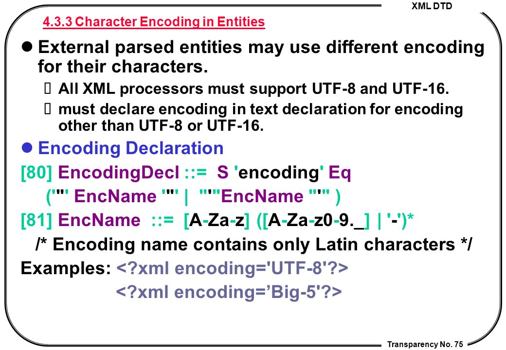 4.3.3 Character Encoding in Entities