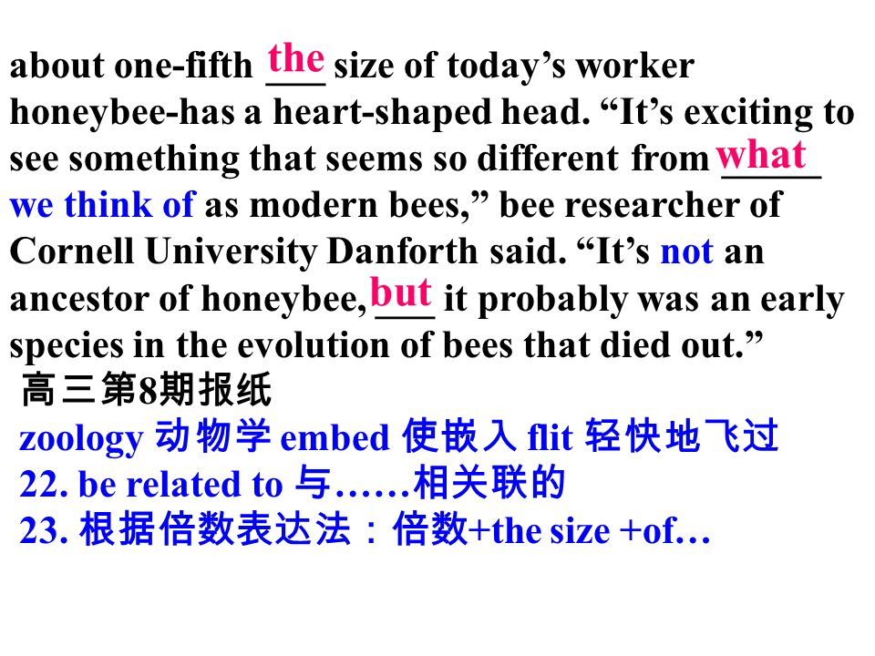 about one-fifth ___ size of today's worker honeybee-has a heart-shaped head. It's exciting to see something that seems so different from _____ we think of as modern bees, bee researcher of Cornell University Danforth said. It's not an ancestor of honeybee, ___ it probably was an early species in the evolution of bees that died out.