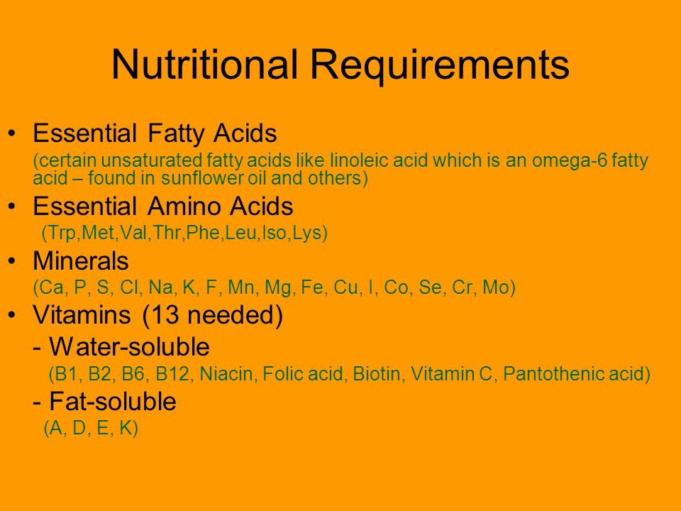Nutritional Requirements