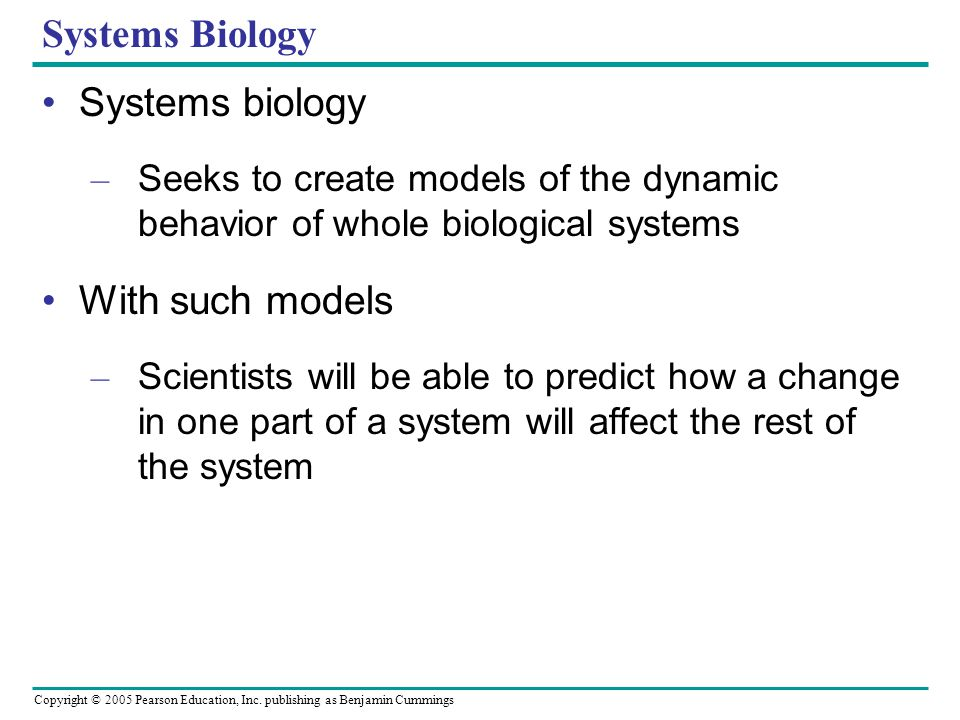 Systems Biology Systems biology With such models