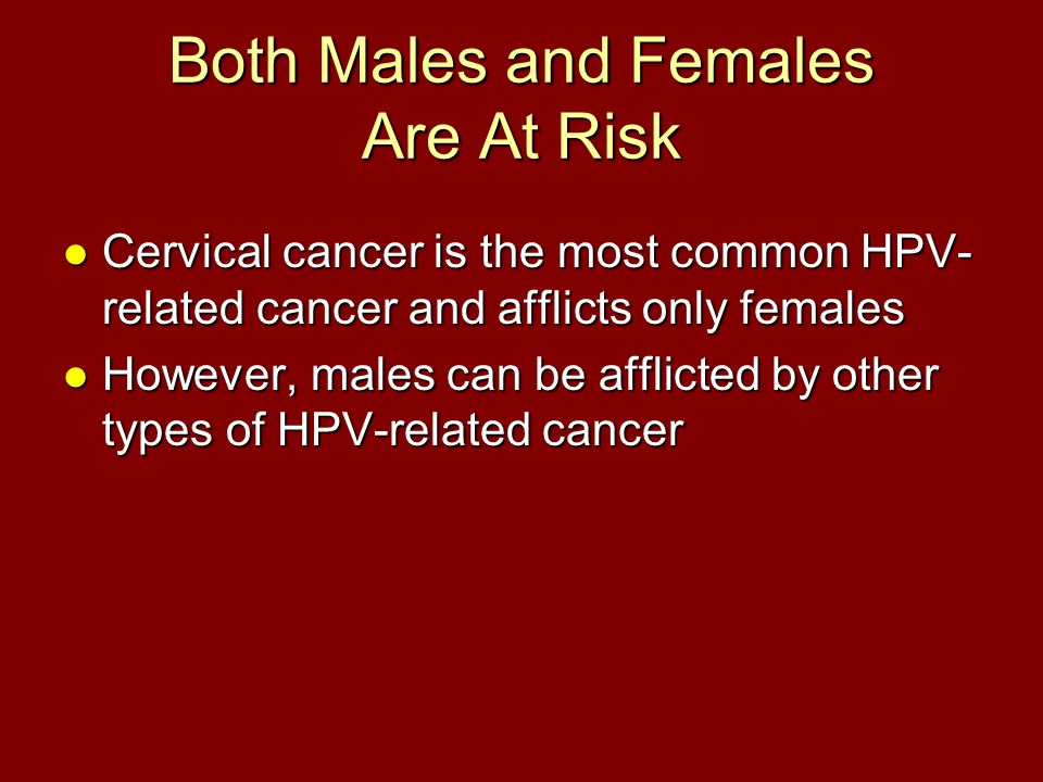 Both Males and Females Are At Risk