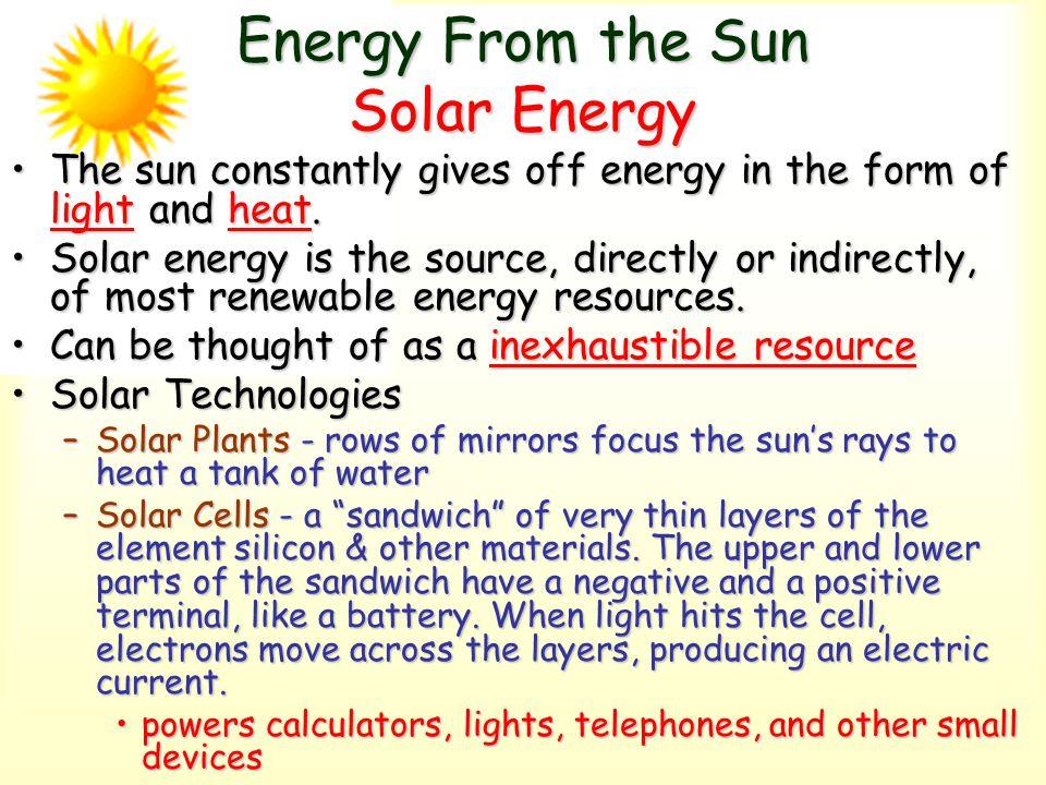 Energy From the Sun Solar Energy