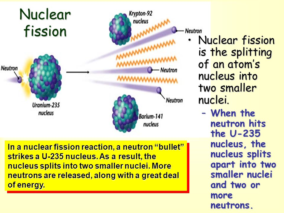 Nuclear fission Nuclear fission is the splitting of an atom's nucleus into two smaller nuclei.