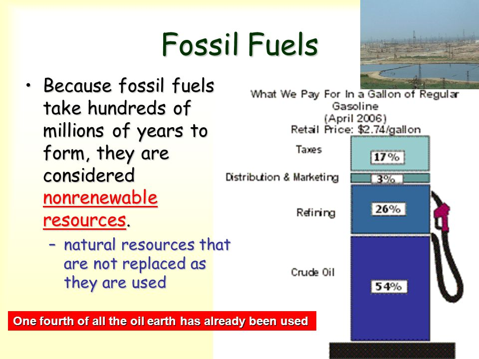 Fossil Fuels Because fossil fuels take hundreds of millions of years to form, they are considered nonrenewable resources.