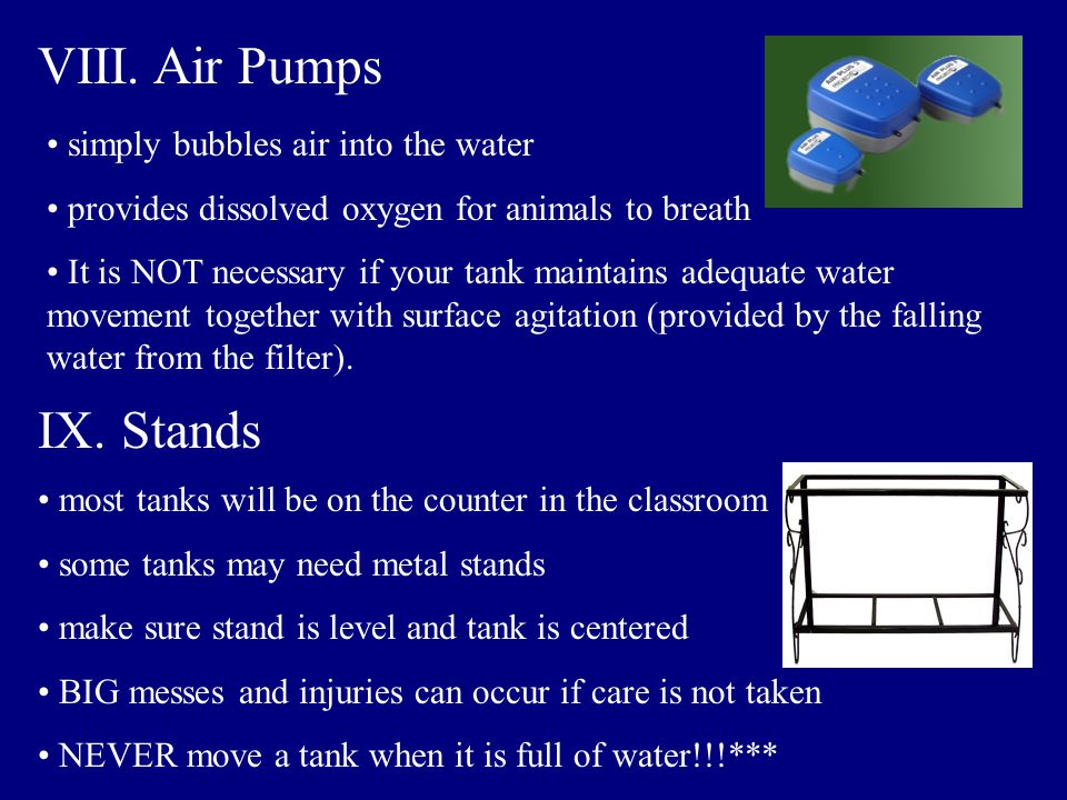 VIII. Air Pumps IX. Stands simply bubbles air into the water