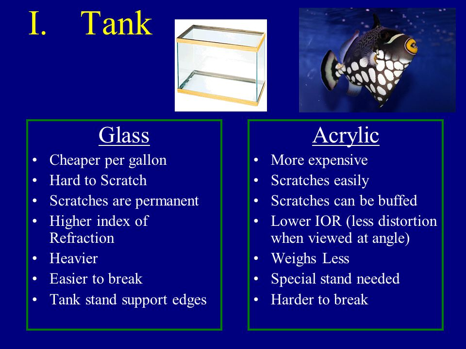 Tank Glass Acrylic Cheaper per gallon Hard to Scratch