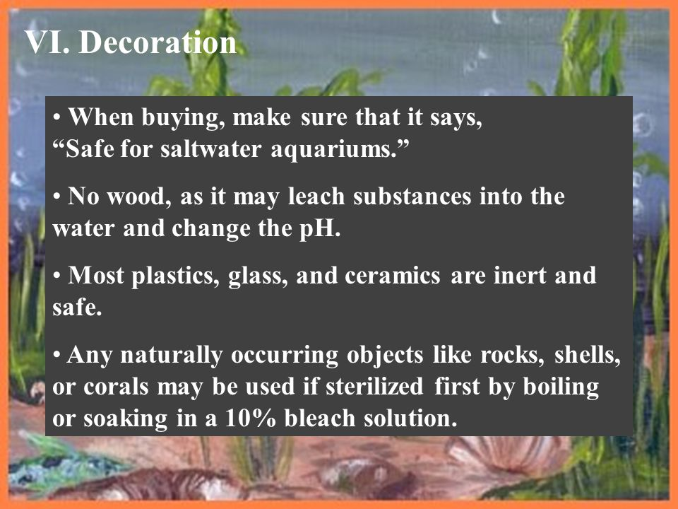 VI. Decoration When buying, make sure that it says, Safe for saltwater aquariums.