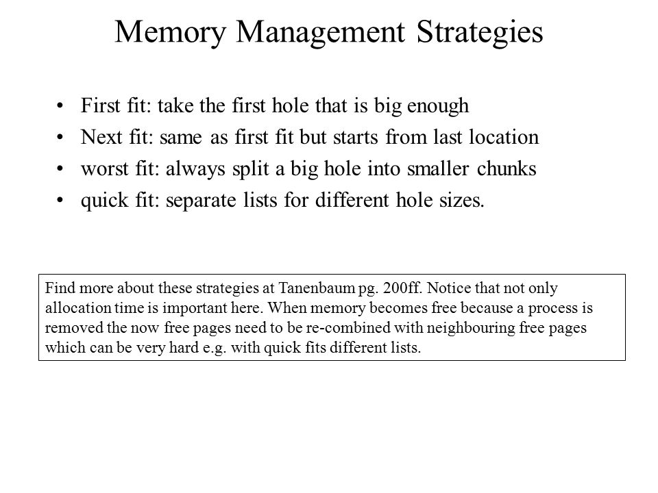 Memory Management Strategies
