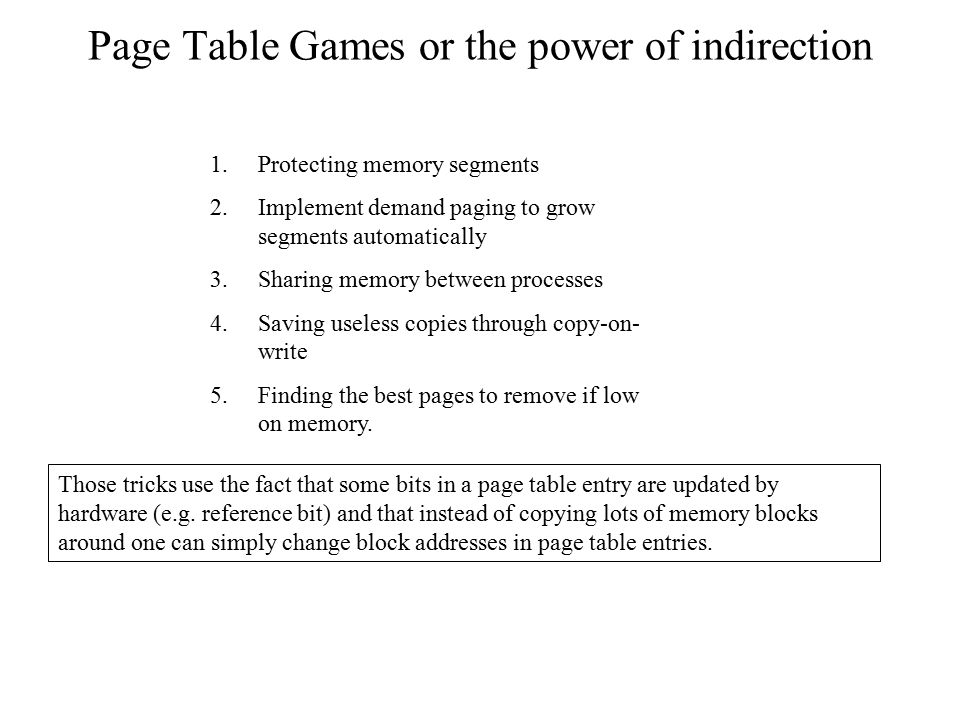 Page Table Games or the power of indirection
