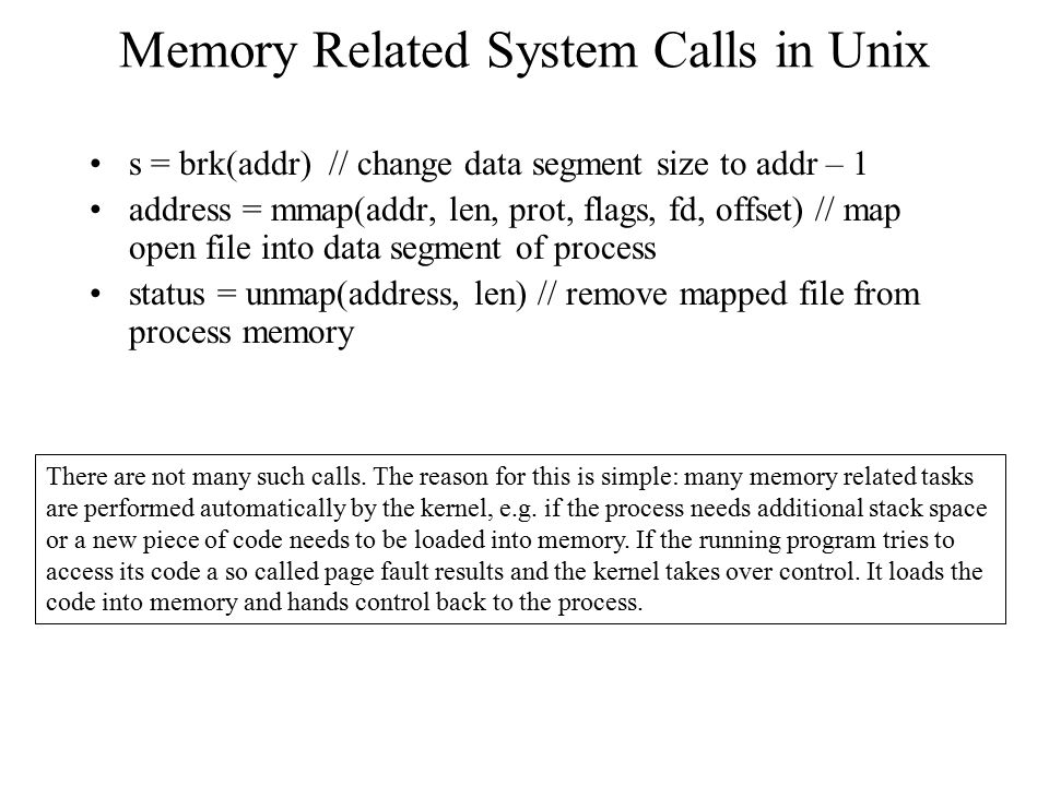 Memory Related System Calls in Unix